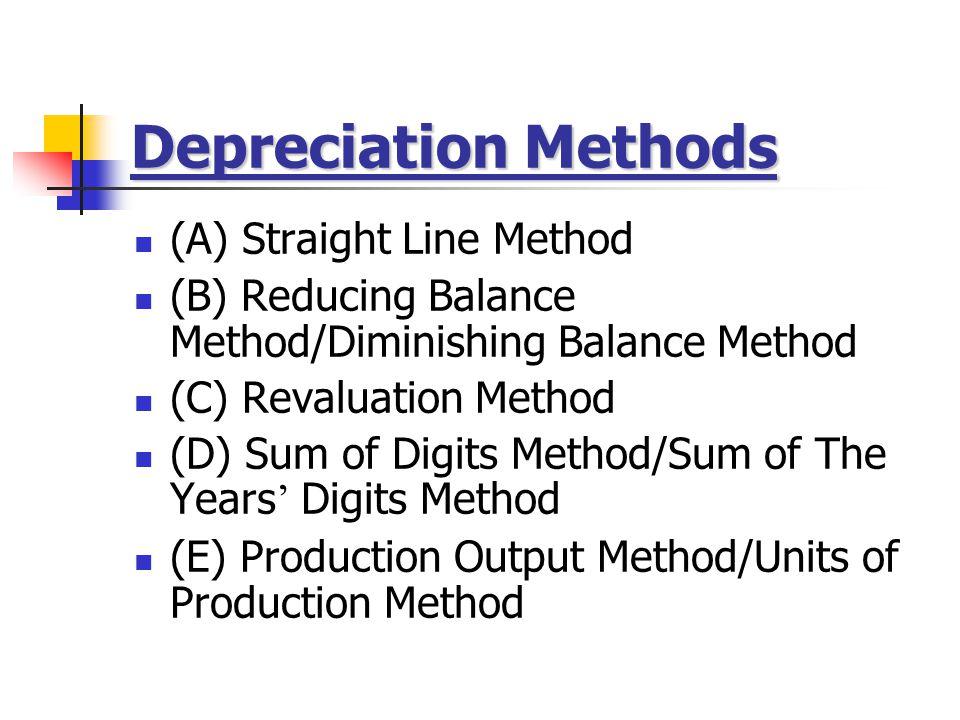 Depreciation Methods (A) Straight Line Method