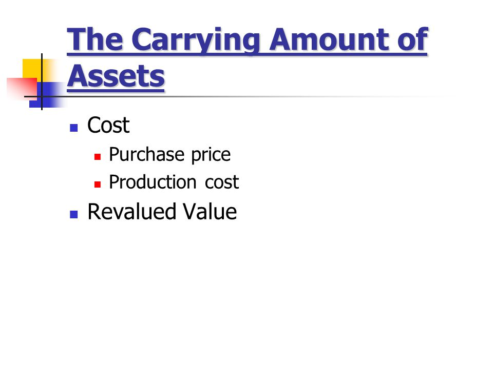 The Carrying Amount of Assets