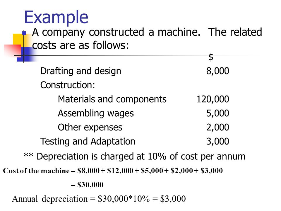 Example A company constructed a machine. The related costs are as follows: $ Drafting and design.