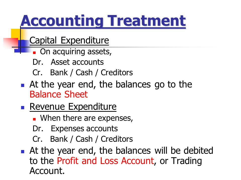 Accounting Treatment Capital Expenditure