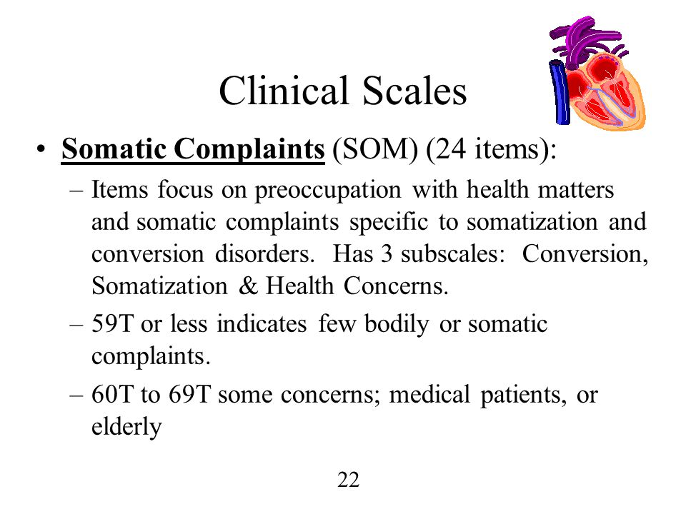 Clinical Scales Somatic Complaints (SOM) (24 items):