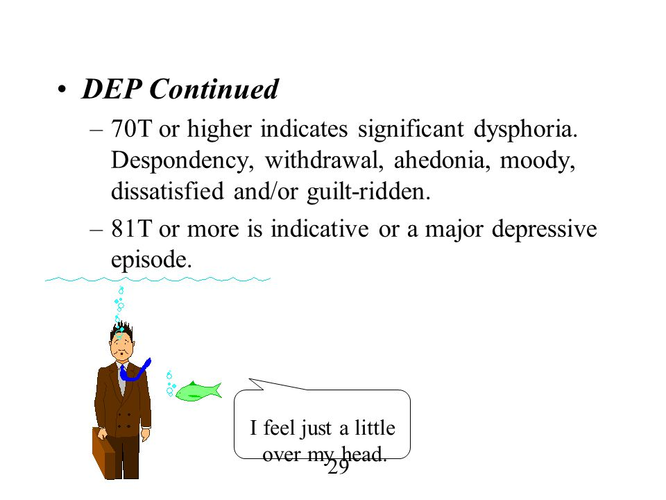 DEP Continued 70T or higher indicates significant dysphoria. Despondency, withdrawal, ahedonia, moody, dissatisfied and/or guilt-ridden.