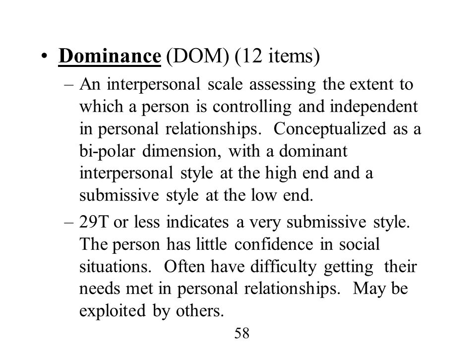 Dominance (DOM) (12 items)