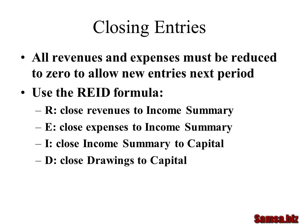 Closing Entries All revenues and expenses must be reduced to zero to allow new entries next period.
