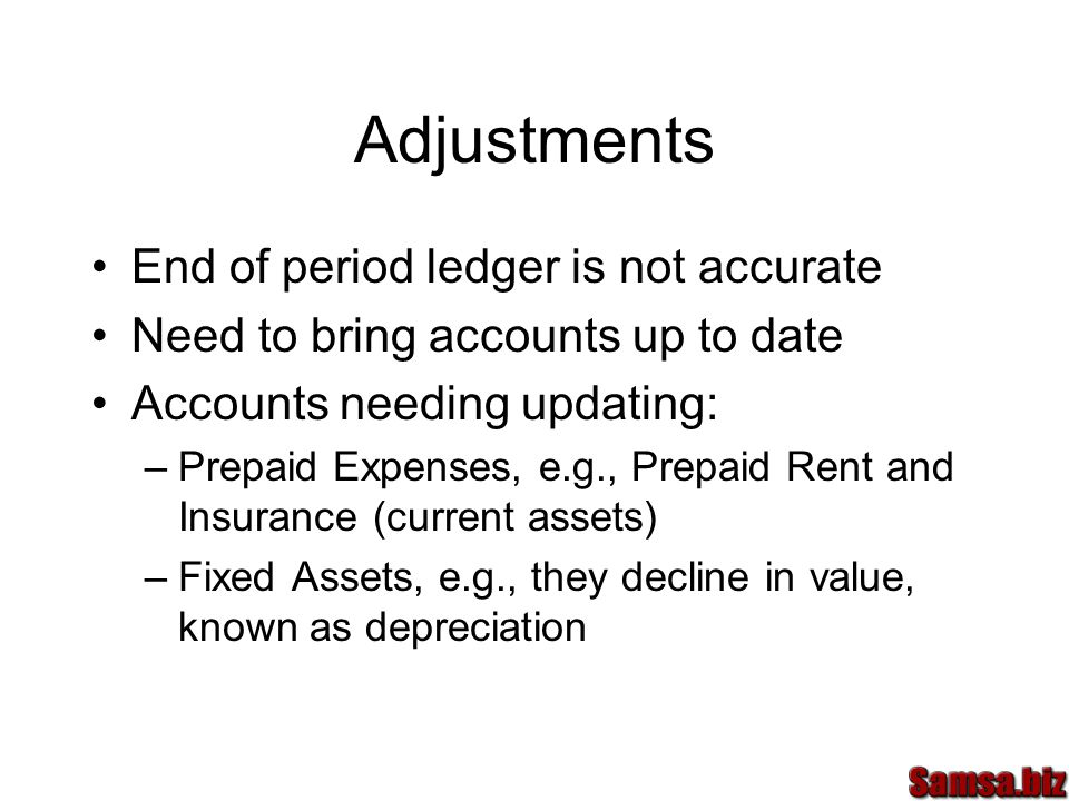 Adjustments End of period ledger is not accurate