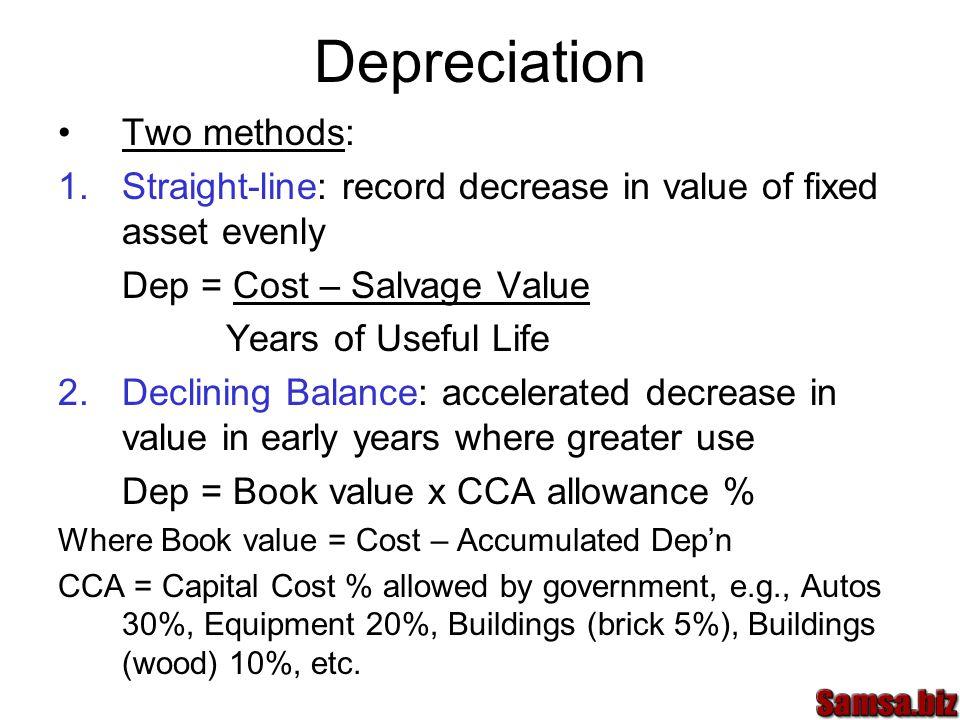 Depreciation Two methods: