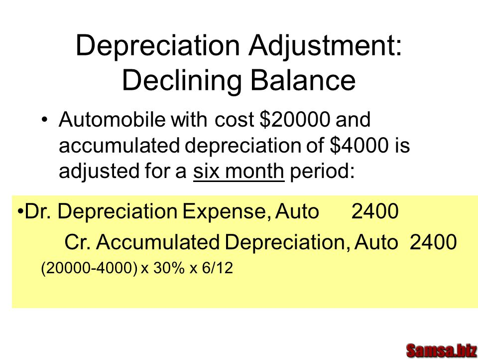 Depreciation Adjustment: Declining Balance