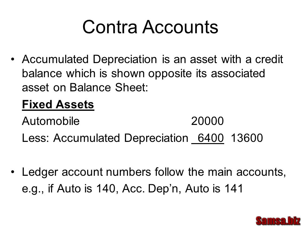 Contra Accounts Accumulated Depreciation is an asset with a credit balance which is shown opposite its associated asset on Balance Sheet: