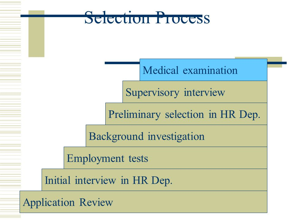 Selection Process Medical examination Supervisory interview