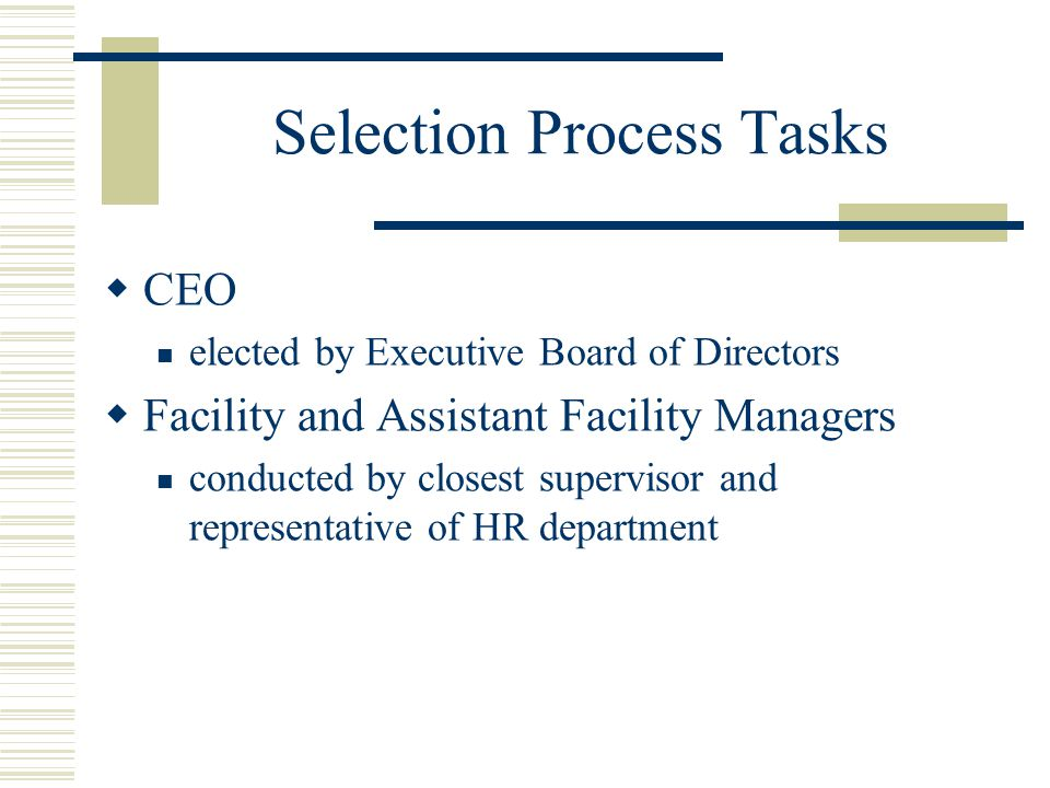 Selection Process Tasks