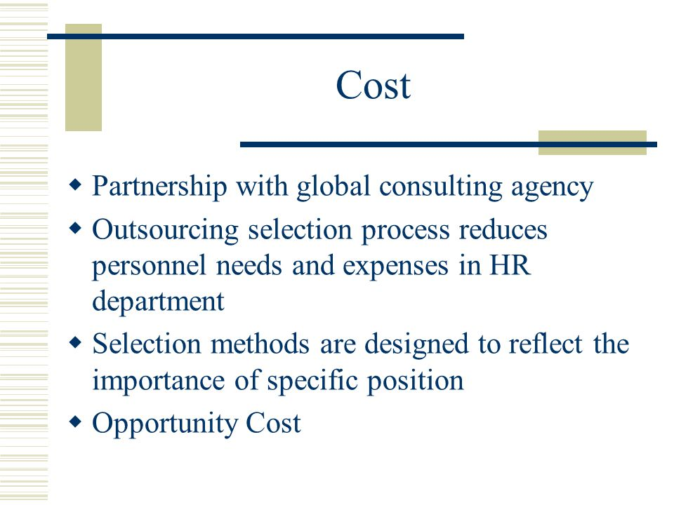 Cost Partnership with global consulting agency