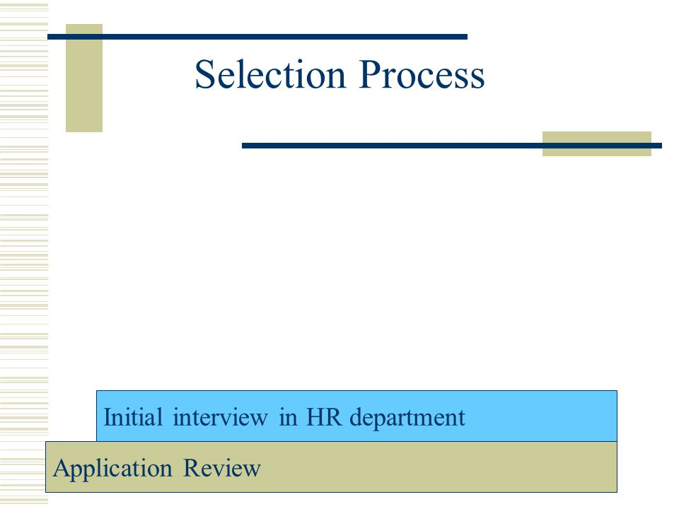 Selection Process Initial interview in HR department