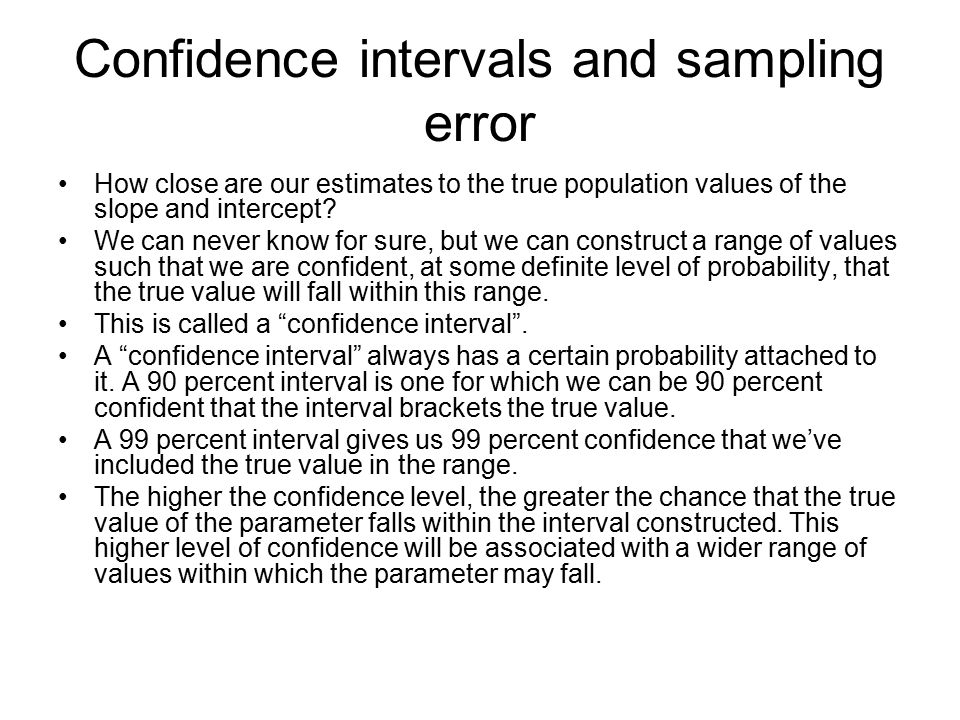 Confidence intervals and sampling error