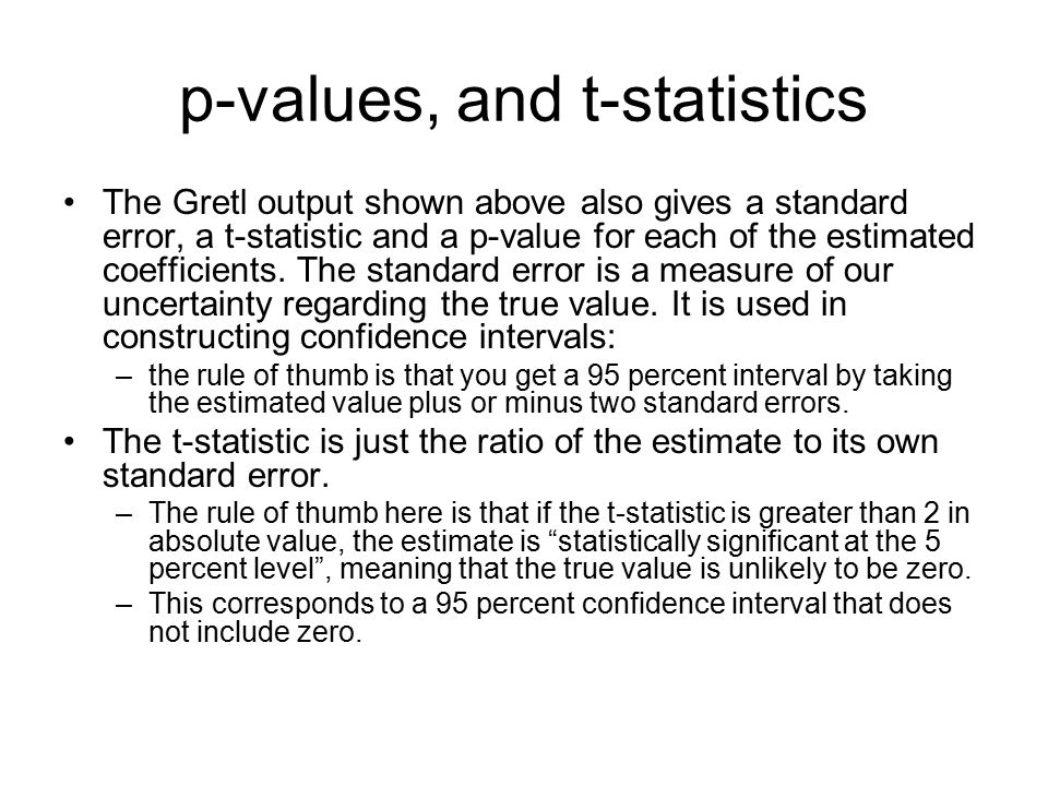 p-values, and t-statistics