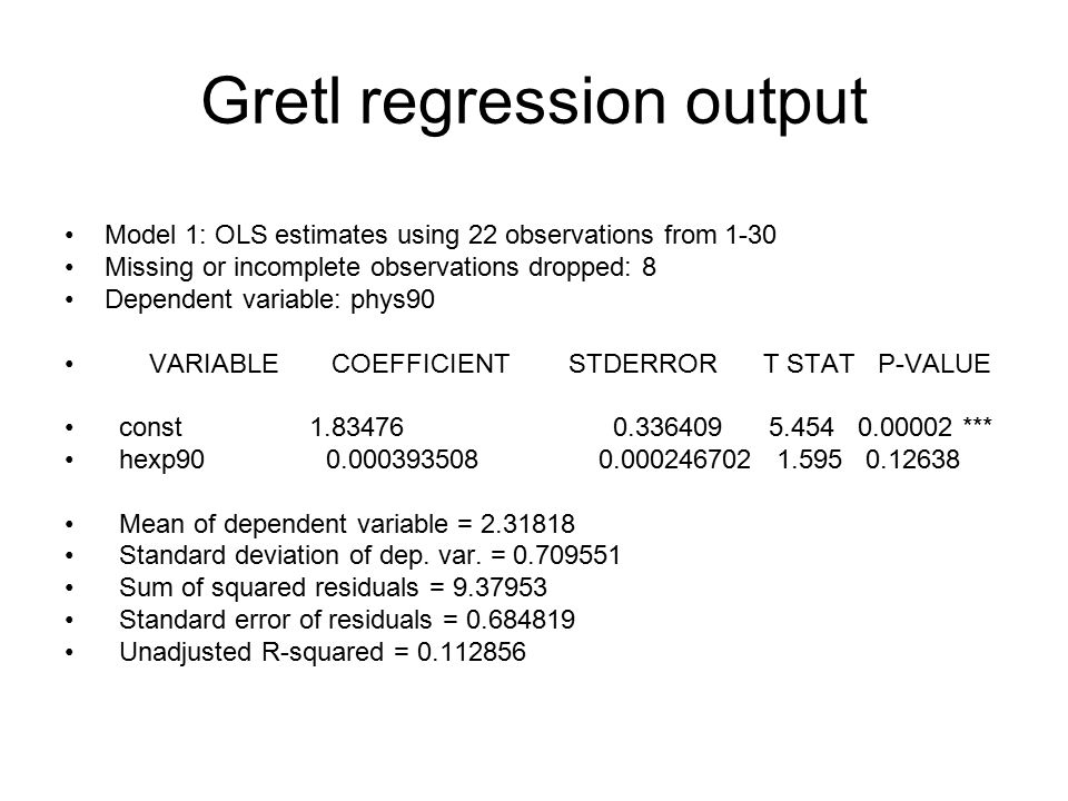 Gretl regression output