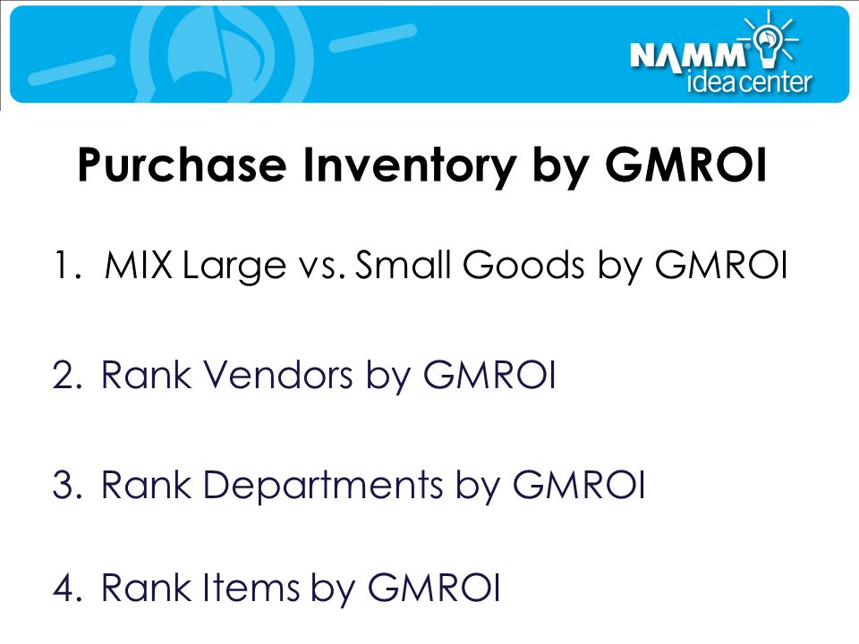 Purchase Inventory by GMROI