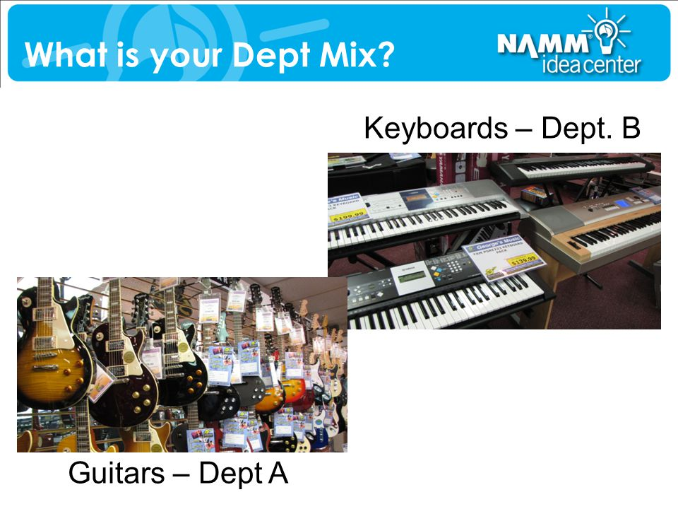 What is your Dept Mix Keyboards – Dept. B Guitars – Dept A