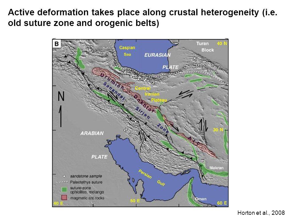 Active deformation takes place along crustal heterogeneity (i. e