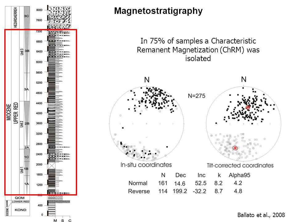 Magnetostratigraphy In 75% of samples a Characteristic Remanent Magnetization (ChRM) was isolated.