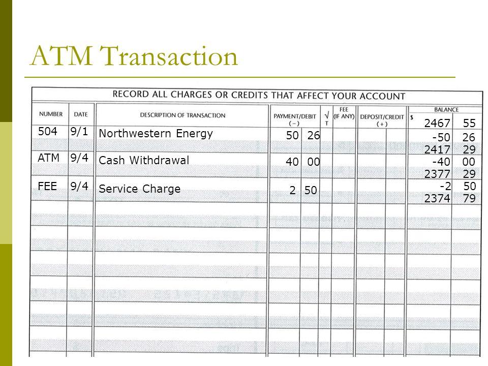 ATM Transaction 2467 55 504 9/1 Northwestern Energy 50 26 -50 26