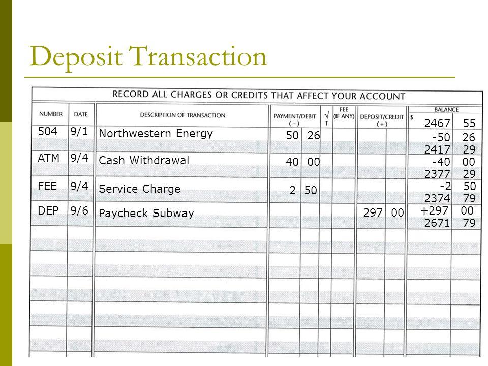 Deposit Transaction 2467 55 504 9/1 Northwestern Energy 50 26 -50 26
