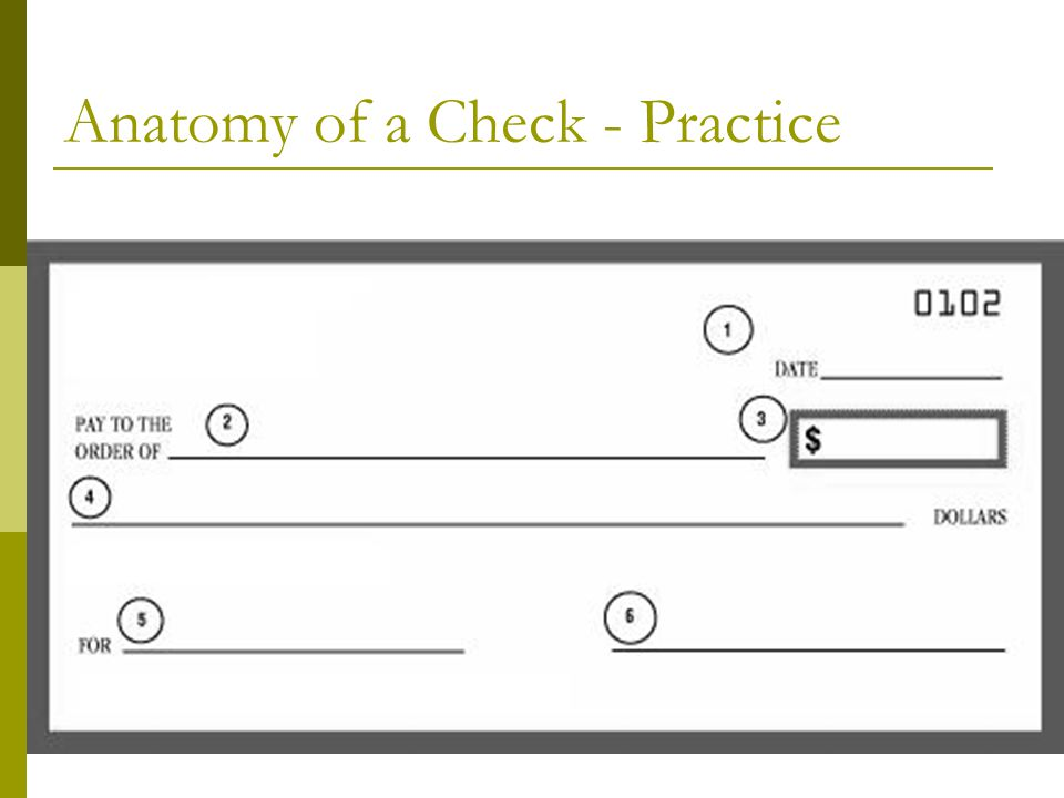 Anatomy of a Check - Practice
