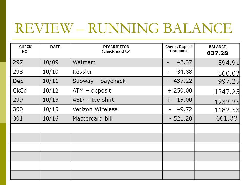 REVIEW – RUNNING BALANCE