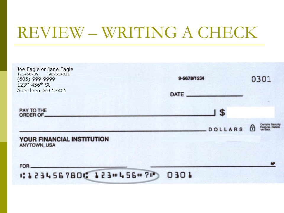 REVIEW – WRITING A CHECK