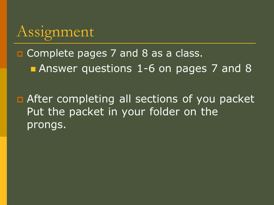 Assignment Answer questions 1-6 on pages 7 and 8