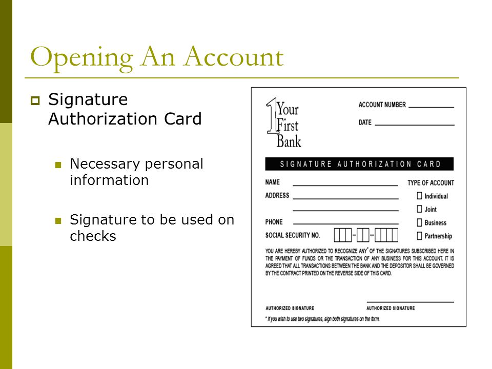 Opening An Account Signature Authorization Card