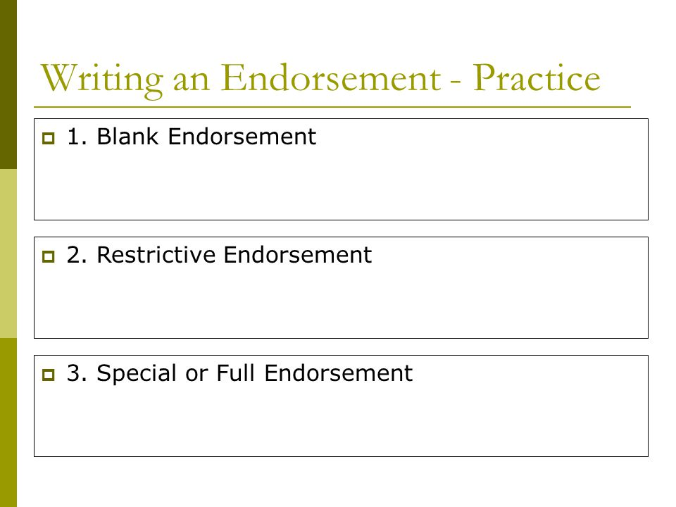 Writing an Endorsement - Practice
