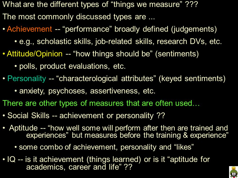 What are the different types of things we measure