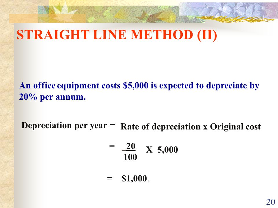 STRAIGHT LINE METHOD (II)