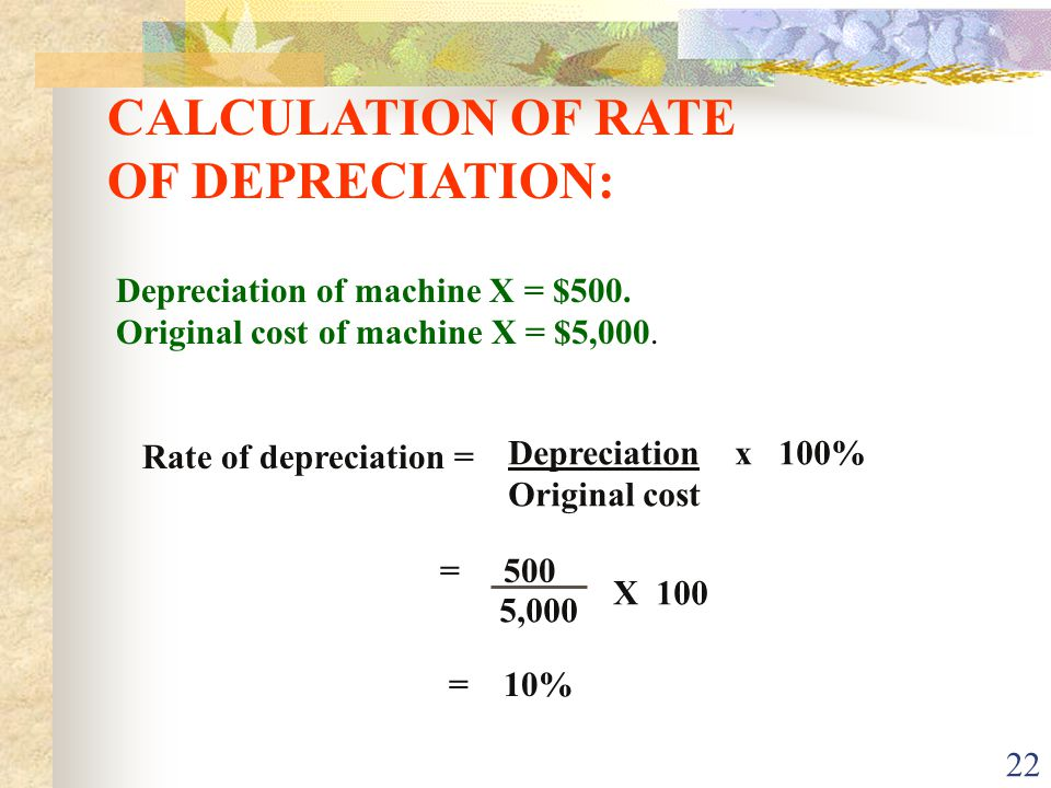 CALCULATION OF RATE OF DEPRECIATION: Depreciation of machine X = $500.