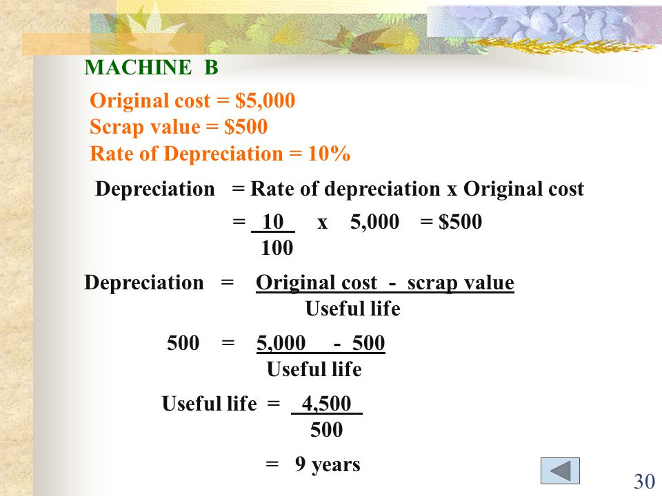 MACHINE B Original cost = $5,000. Scrap value = $500. Rate of Depreciation = 10% Depreciation = Rate of depreciation x Original cost.