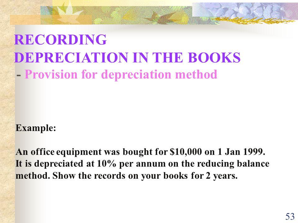 DEPRECIATION IN THE BOOKS