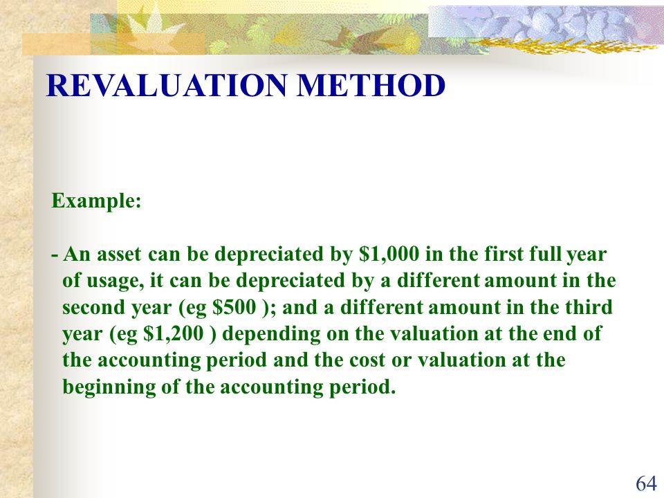 REVALUATION METHOD Example: