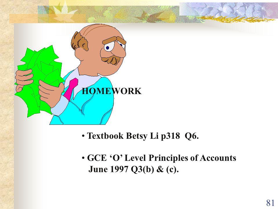 HOMEWORK Textbook Betsy Li p318 Q6. GCE 'O' Level Principles of Accounts June 1997 Q3(b) & (c).