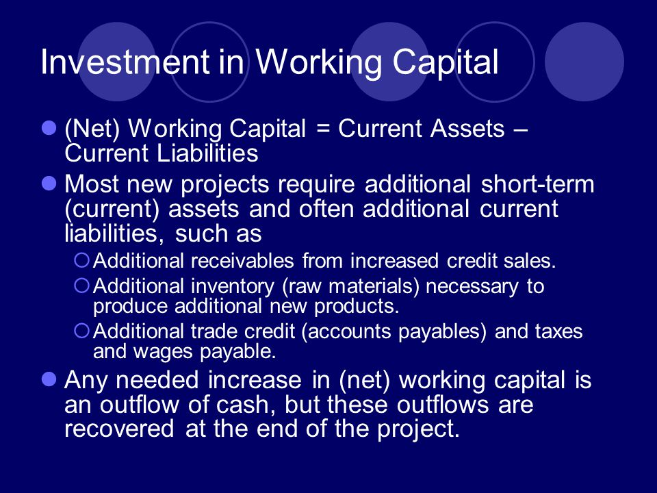 Investment in Working Capital