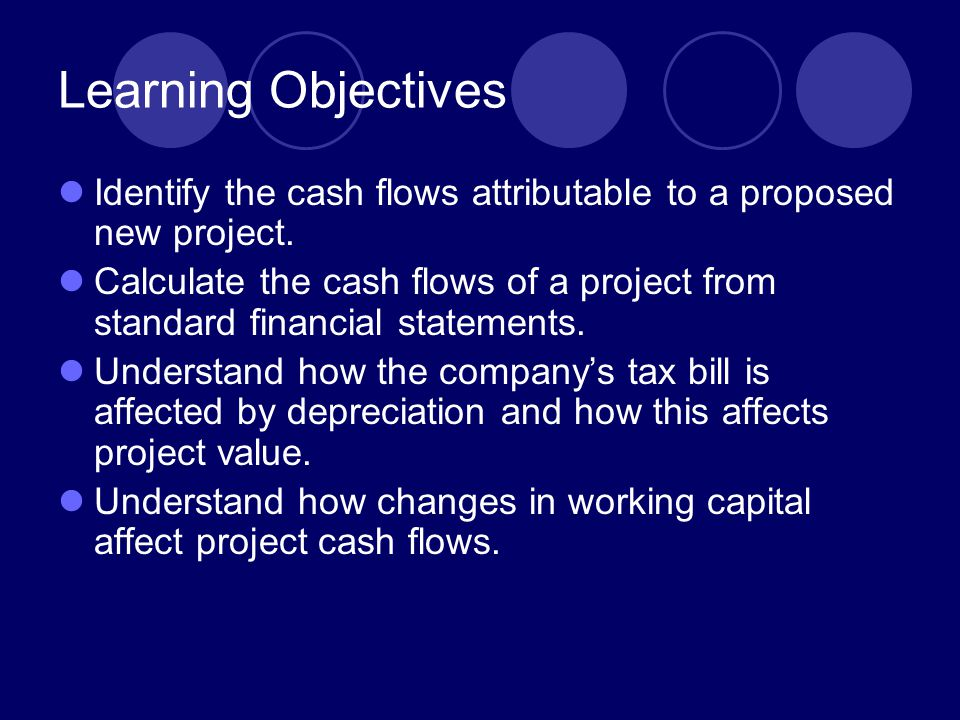 Learning Objectives Identify the cash flows attributable to a proposed new project.