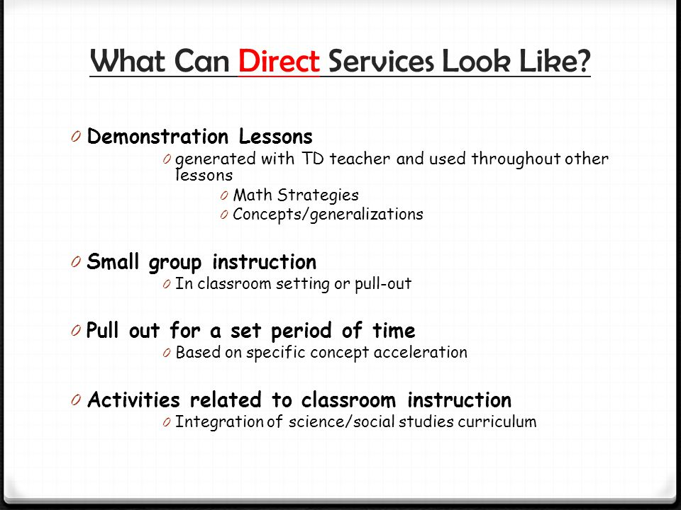 What Can Direct Services Look Like