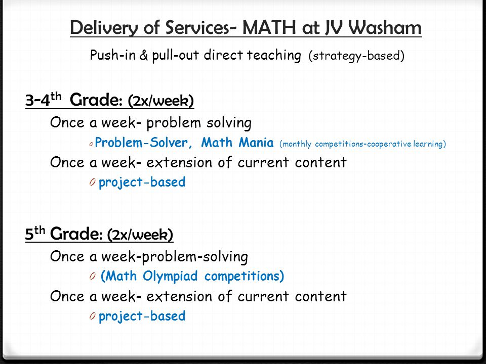 Delivery of Services- MATH at JV Washam