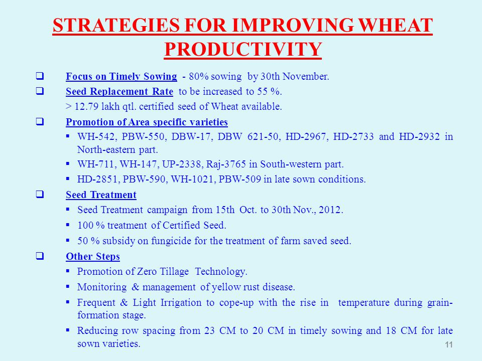 STRATEGIES FOR IMPROVING WHEAT PRODUCTIVITY