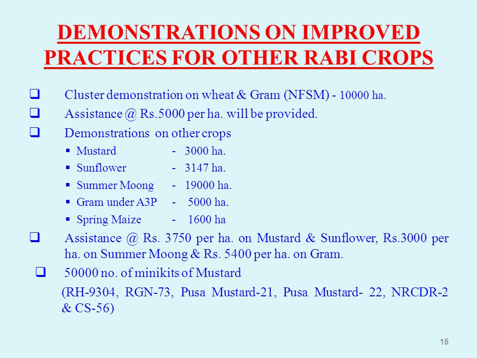 DEMONSTRATIONS ON IMPROVED PRACTICES FOR OTHER RABI CROPS
