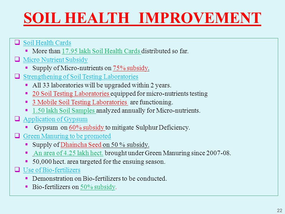 SOIL HEALTH IMPROVEMENT