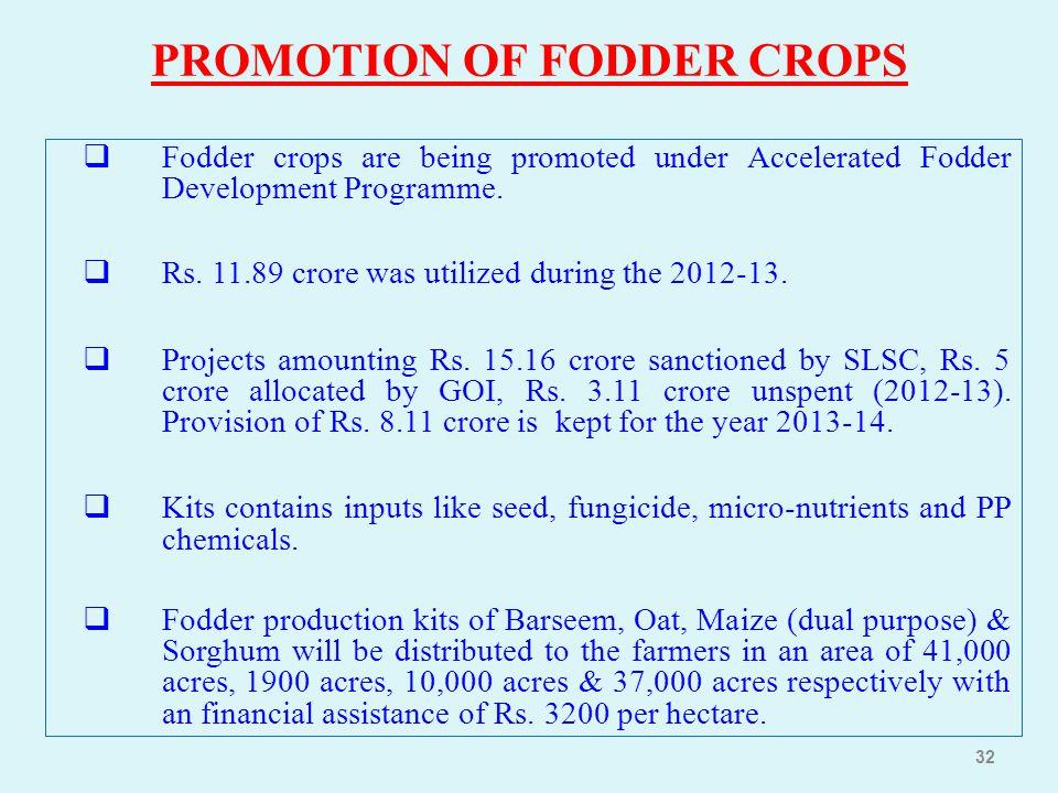 PROMOTION OF FODDER CROPS