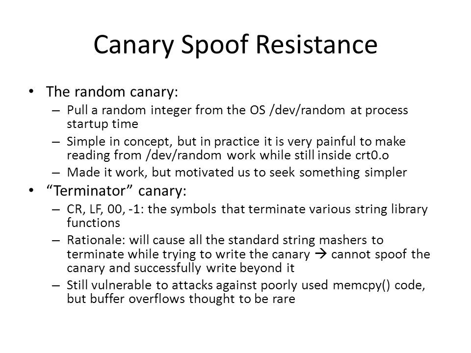 Canary Spoof Resistance