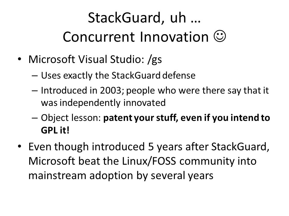 StackGuard, uh … Concurrent Innovation 
