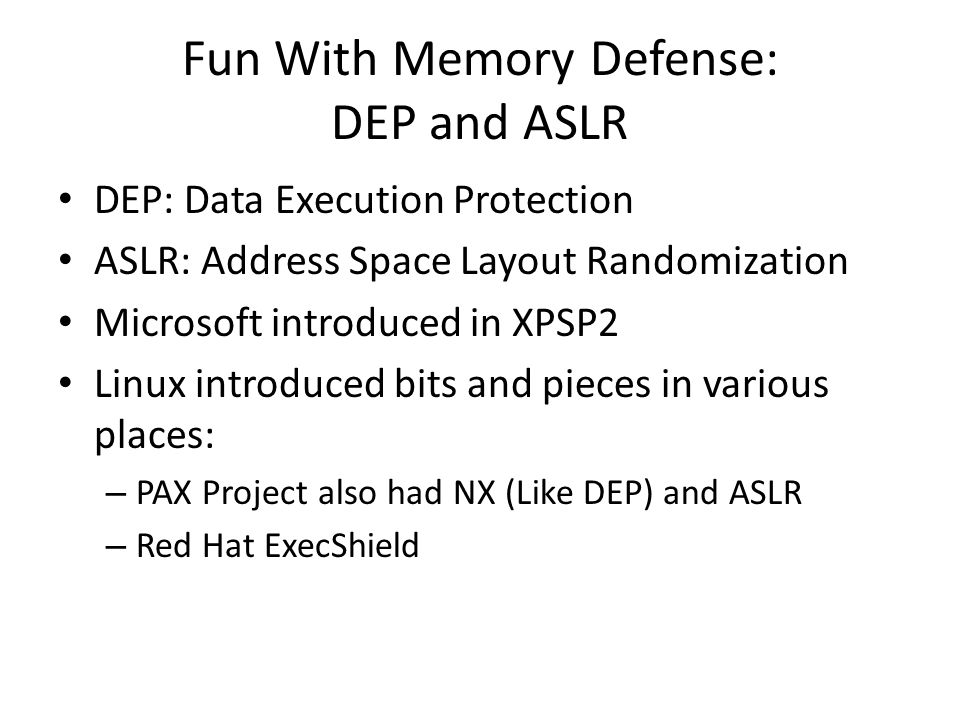 Fun With Memory Defense: DEP and ASLR