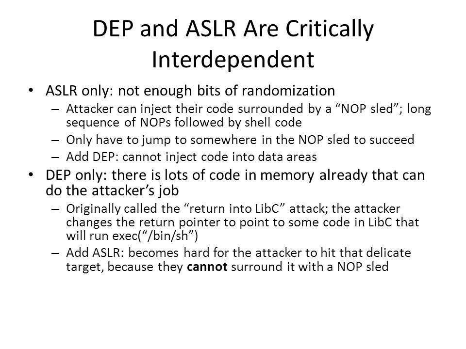 DEP and ASLR Are Critically Interdependent